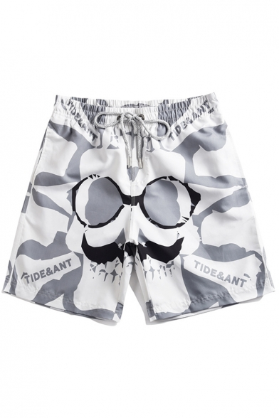 Fashion Spectacle Beard Letter Printed Drawstring Waist Fast Drying Unisex Grey and White Shorts Swim Trunks