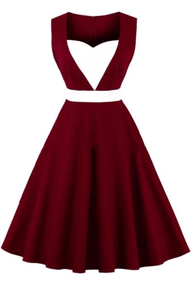Fashionable Color Block Square Neck Sleeveless Midi A-Line Flared Dress