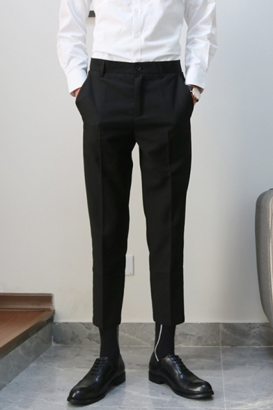 Guys Fashion Simple Plain Non-Ironing Cropped Straight Tailored Suit Pants Dress Pants