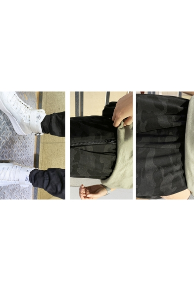 Guys Spring New Trendy Classic Camo Printed Loose Casual Tapered Black Cargo Pants