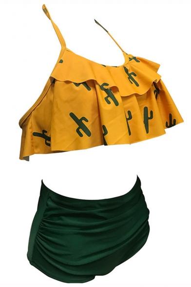 Hot Fashion Chic Ruffle Detail Allover Cactus Pattern Halter Neck High Waist Bottom Bikini Swimwear