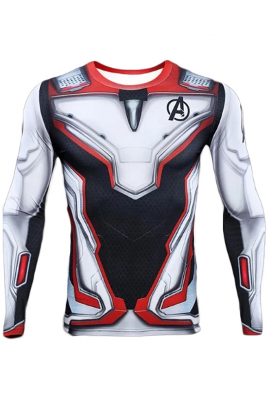Hot Popular Avengers Endgame Quantum Battle Suit Cosplay Costume Long Sleeve Slim Fit T-Shirt