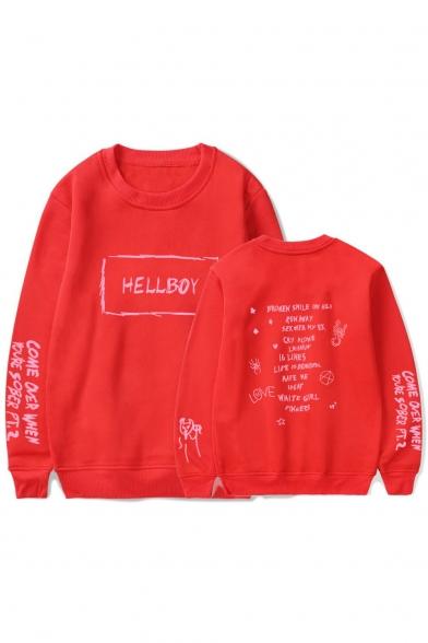 American Rapper New Stylish HELLBOY Letter Printed Round Neck Unisex Pullover Sweatshirt