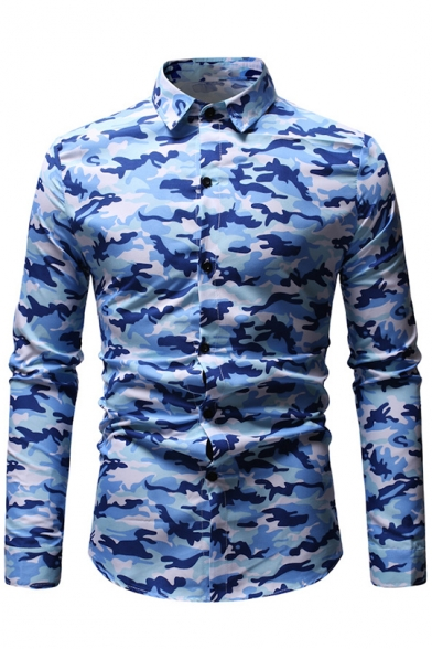 Men's Fashionable Camouflage Printed Long Sleeve Fitted Button-Up Shirt