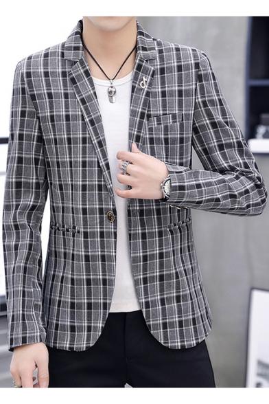 unique style footwear convenience goods Men's Slim-Fit Single Button Long Sleeve Notch Lapel Plaid Wedding