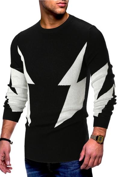 Men's Stylish Flash Lightning Printed Crewneck Long Sleeve Stretch Fit Sweater