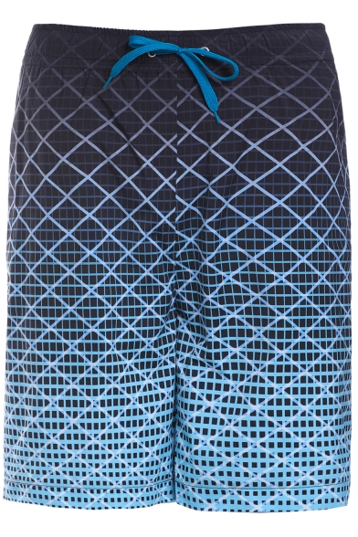 Men's Summer Quick-Dry Plaid Printed Drawstring Waist Ombre Color Block Casual Blue Swim Trunks