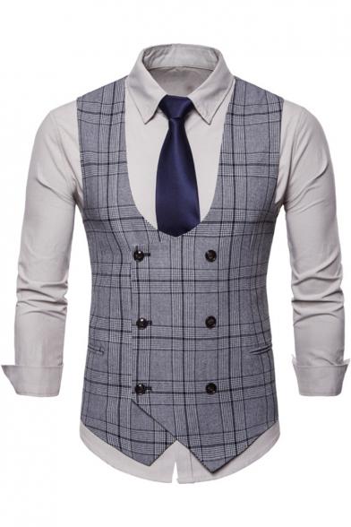 Men's Vintage Slim Fit Double-Breasted Buckle Back Plaid Suit Vest