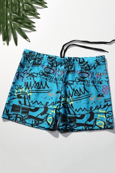 Mens New Fashion Art Graffiti Pattern Blue Elastic Drawstring Waist Quick-Dry Beach Swim Trunks