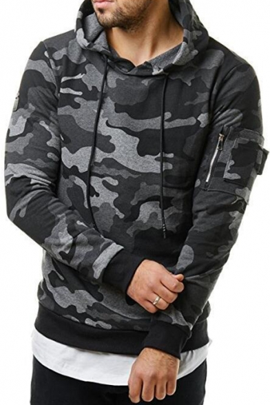 Mens Popular Fashion Zip Pocket Long Sleeve Classic Camo Print Fitted Hoodie