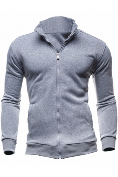 New Fashion Solid Color Stand-Collar Long Sleeve Zip Front Fitted Sweatshirt