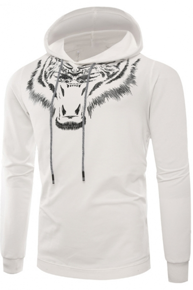 New Stylish 3D Tiger Pattern Long Sleeve Mens Slim Fit Sport Hoodie