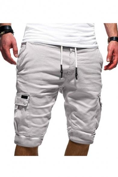 New Stylish Plain Drawstring Waist Multiple Pockets Leisure Cargo Shorts for Men
