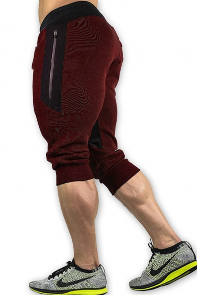 Popular Drawstring-Waist Zip Embellish Mens Sport Running Stretch Sweat Shorts