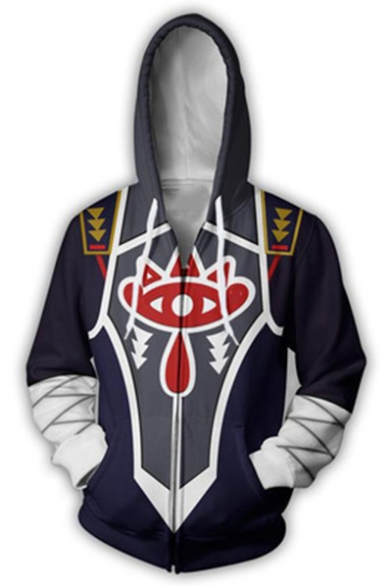 Popular Game Cosplay Costume 3D Printing Full Zip Long Sleeve Navy Hoodie