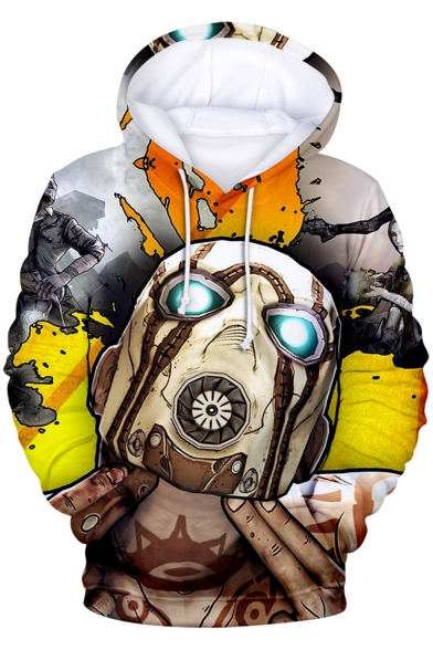 Popular Game Funny 3D Comic Character Printed Long Sleeve Yellow Hoodie