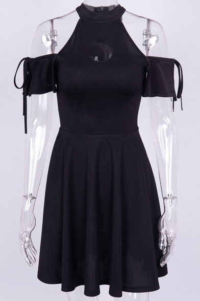 Punk Style Moon Printed Hollowing out Cold Shoulder Short Sleeve Black Mini A-Line Dress