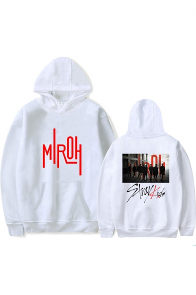 Popular Boy Band Letter Figure Printed Casual Loose Unisex Pullover Hoodie