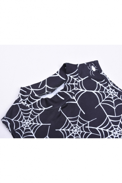 Stylish Spider Web Printed Mock Neck Sleeveless Black Mini Bodycon Dress