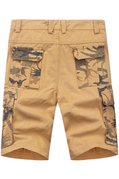Unique Cool Camo Patched Men's Summer Fashion Cotton Straight Cargo Shorts
