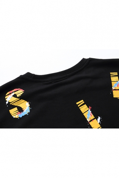 f204bd1b4677 ... Unisex Hip Hop Style Letter Printed Long Sleeve Casual Fake Two-Piece  Sweatshirt