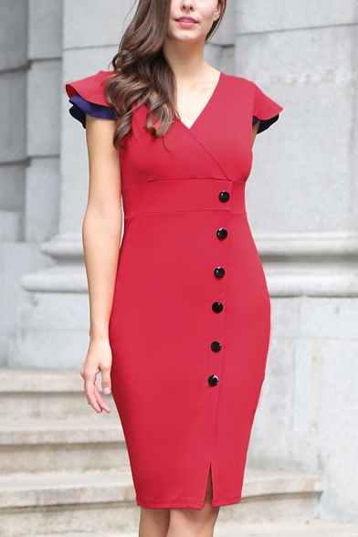Women's New Stylish Buttons Patched V-Neck Short Sleeve Red Midi Bodycon Dress