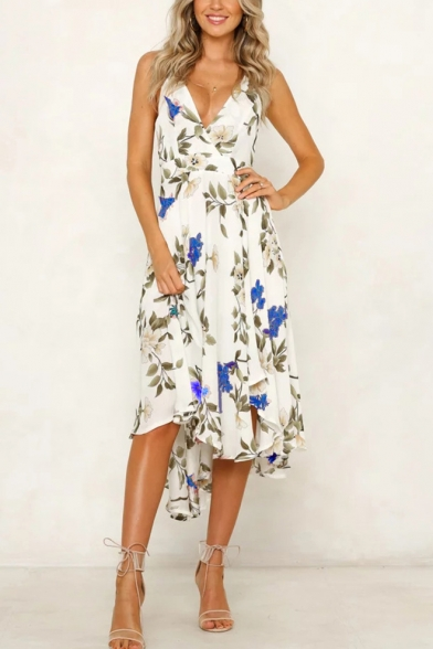 clearance prices low price get cheap Women's Sexy V-Neck Floral Printed Bow Tied Back Midi Slip Beach ...