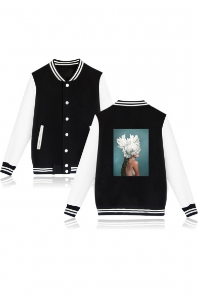 Aesthetics Trendy Single Breasted Contrast Long Sleeve Figure Floral Printed Unisex Baseball Jacket