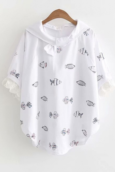 Cute Allover Fish Printed Lace Insert Round Hem Half Sleeve Removable Hood T-Shirt