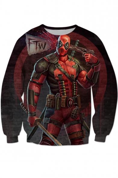 Funny Figure 3D Printed Long Sleeve Pullover Sweatshirt