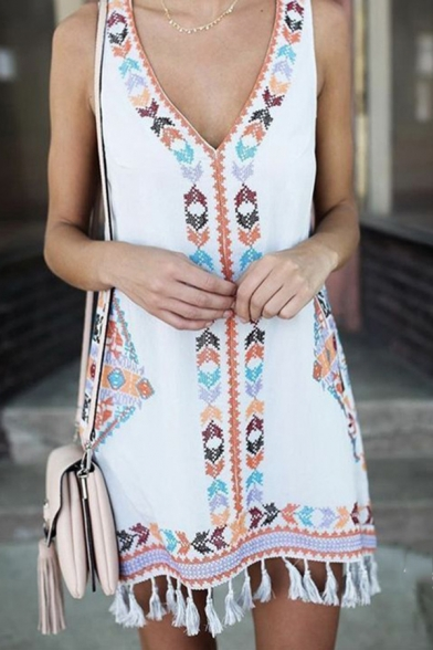 Ethnic Tribal Pattern V-Neck Sleeveless Tassels Hem Mini Tank Dress