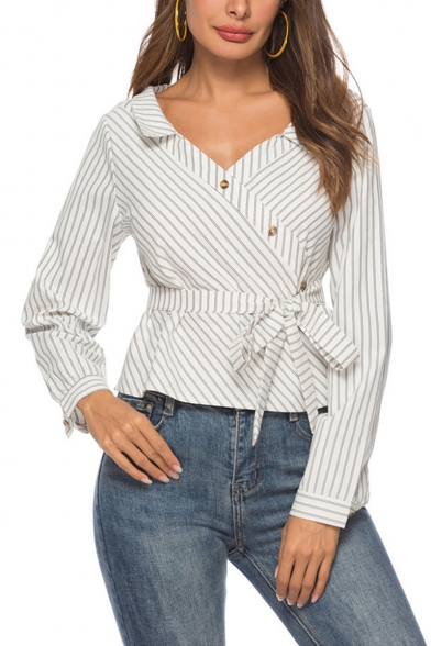 Fashion Classic Striped Pattern V Neck Oblique Buttons Placket Long Sleeve Tied Waist White Shirt