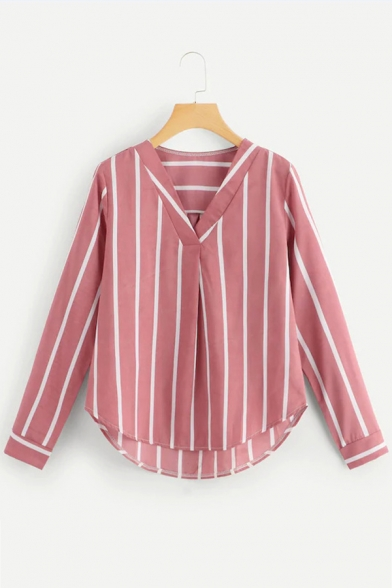 Fashion Striped Print V-Neck Long Sleeve Leisure Blouse