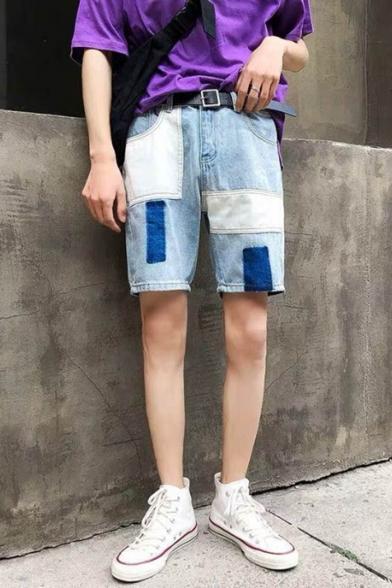 Guys Cool Street Fashion Retro Washed Unique Patchwork Loose Fit Light Blue Denim Shorts