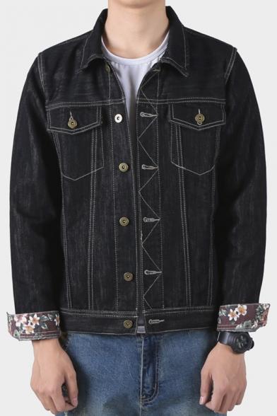 Guys Turn-Down Collar Long Sleeve Floral Print Cuff Black Button Down Work Jacket Denim Jacket