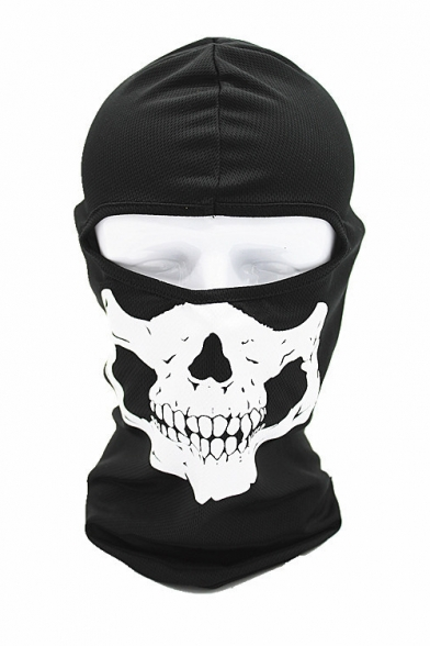 New Popular Skull Print Halloween Cosplay Scarf Neck Outdoor Black Face Mask