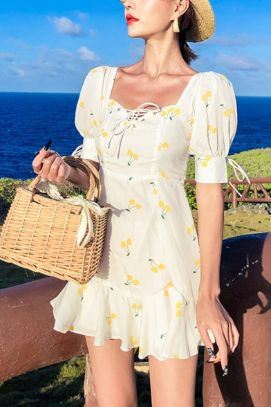 New Stylish Yellow Allover Cherry Printed Short Sleeve Mini A-Line Dress for Holiday