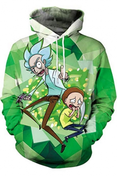 Rick and Morty Funny Comic Figure Pattern Long Sleeve Sport Loose Green Hoodie