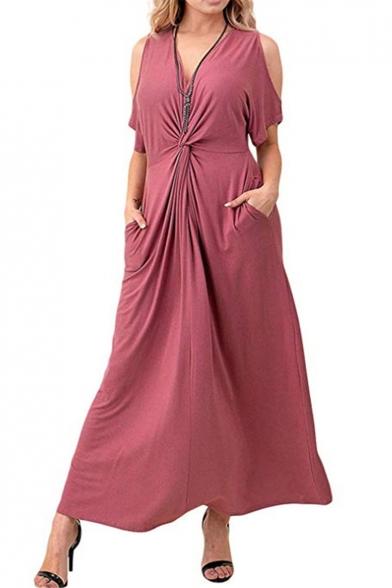 Simple Plain V-Neck Cold Shoulder Kinking Design Maxi A-Line Dress with Pockets