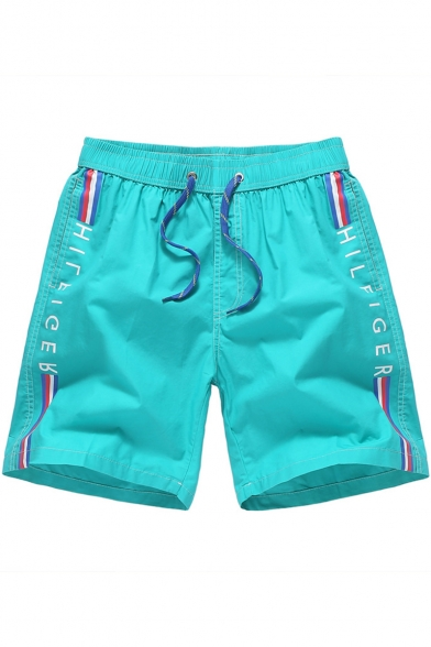 Summer Fashion Letter TOMMK HILFIGER Tape Side Drawstring Waist Fast Drying Guys Sport Loose Active Shorts