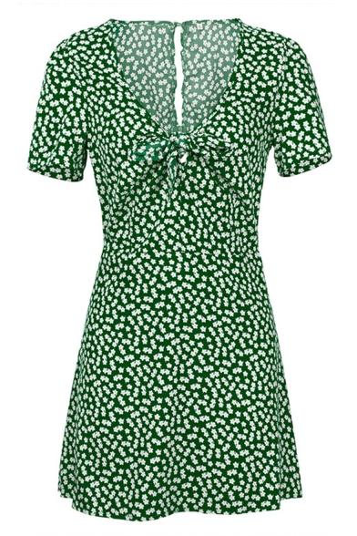 Summer V-Neck Short Sleeves Allover Floral Pattern Bow Front Mini A-Line Dress