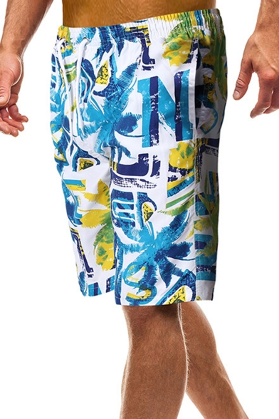 Trendy Drawstring Waist Fast Drying Male Letter Palm Tree Printed Swim Trunks with Cargo Pocket