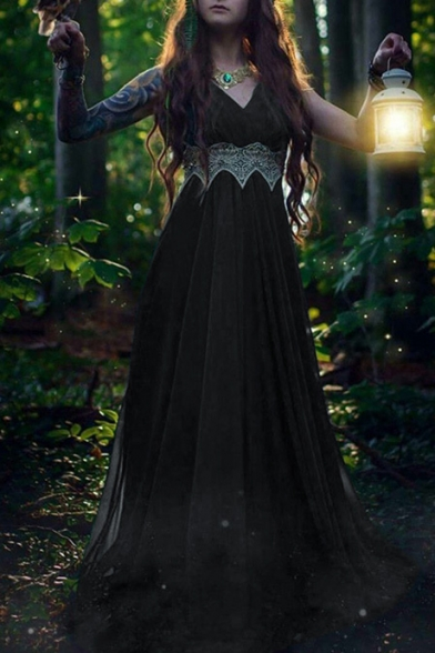 Women's Elegant Plain V-Neck Sleeveless Lace Patchwork Draped Floor Length Dress