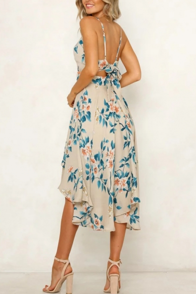 Women's Sexy V-Neck Floral Printed Bow Tied Back Midi Slip Beach Dress