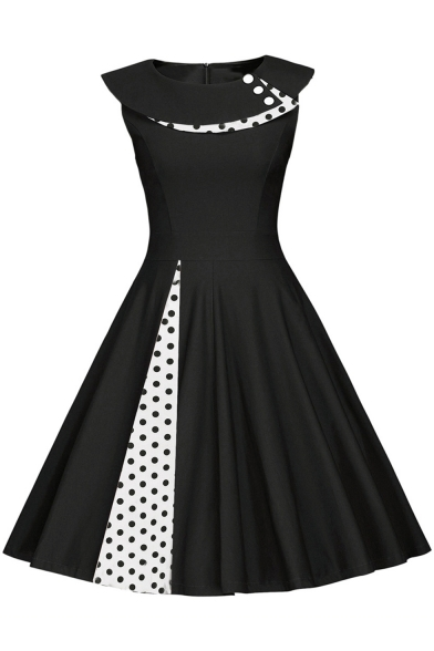 Women's Vintage Style Polka-Dot Buttons Patchwork Cap Sleeve Knee Length Party A-Line Dress
