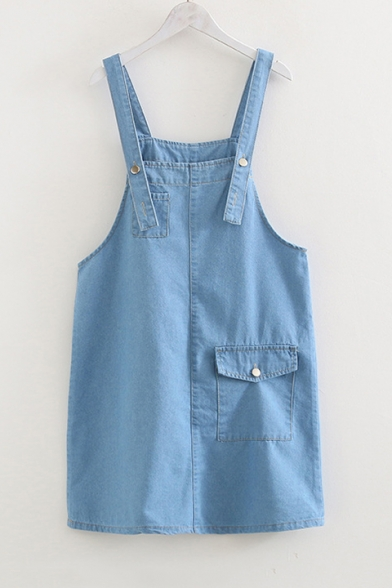 Fashion Plain Straps Big Pockets Loose Mini Overall Denim Dress