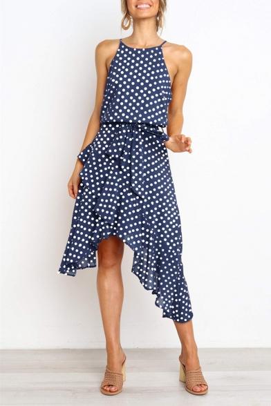 Fashion Polka Dot Printed Spaghetti Straps Sleeveless Tied Waist Midi Asymmetrical Dress