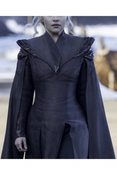 Game of Thrones Daenerys Targaryen Cosplay Costume Lace Sequins Patched Black Midi A-Line Cape Dress