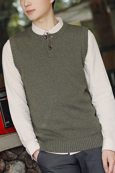 Guys Simple Plain Button Front Round Neck Sleeveless Fitted Casual Sweater Vest