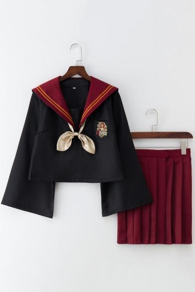 Купить со скидкой Harry Potter Costume Cosplay Slytherin Gryffindor Sailor Suit Uniforms Bow Front Flare Sleeves Shirt